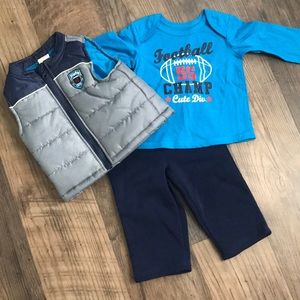 🆕Infant Baby Boy 3 Pc Football Champ Outfit